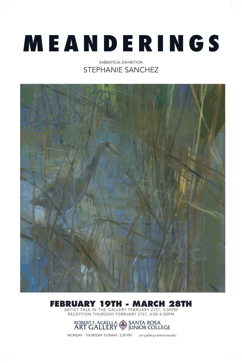 Poster for Meanderings, Stephanie Sanchez paintings