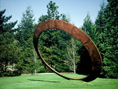 Annual Ring is a large leaning circular sculpture by Roger Berry.  It is located in front of Analy Hall, Santa Rosa Junior College