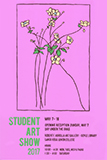 Poster for student show.  Yellow flowers on a pink background