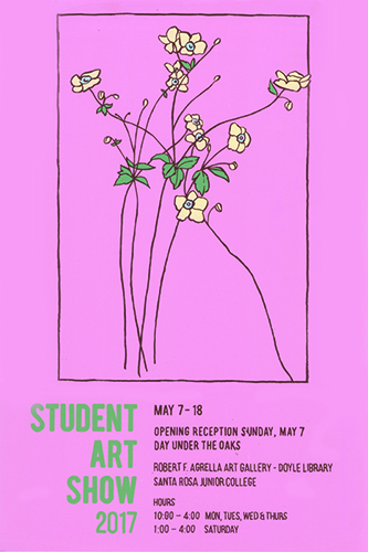 Poster for Student Art Show.  Yellow flowers with a pink background.